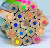 Lápis da cor no fim branco do fundo acima Imagens de Stock