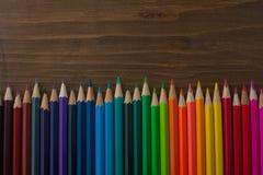 Lápis da cor no fundo de madeira Imagem de Stock Royalty Free