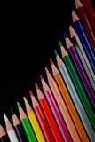 Lápis da cor no fundo preto Foto de Stock