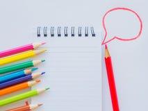 Lápis da cor no Livro Branco Imagem de Stock
