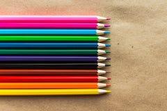 Lápis da cor no papel do ofício Imagem de Stock Royalty Free