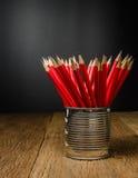 lápis de madeira na lata de lata Fotos de Stock Royalty Free