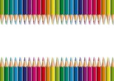 Lápis de papel alinhados e que formam um inclinação da cor para uma apresentação ilustração royalty free