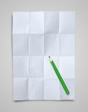 lápis de papel e colorido amarrotado branco Imagem de Stock Royalty Free