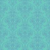 A lápis desenho com a flor da arte no fundo azul Fotografia de Stock Royalty Free