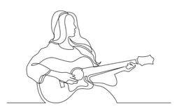 A lápis desenho contínuo da menina que joga a guitarra acústica ilustração royalty free