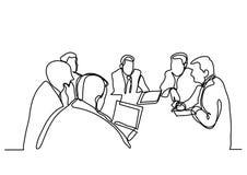 A lápis desenho contínuo da reunião de negócios ilustração do vetor