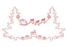 A lápis desenho contínuo de um feriado do Natal, Santa Claus em um trenó, cervo, árvore de Natal, flocos de neve, presentes ilustração do vetor
