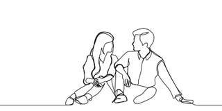 A lápis desenho contínuo de um par que senta e que toma a conversação Ilustração romântica do vetor do conceito ilustração stock