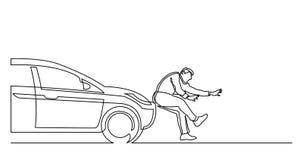 A lápis desenho contínuo do carro que bate o pedestre ilustração do vetor