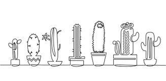A lápis desenho contínuo do grupo do vetor de plantas preto e branco da casa do esboço do cacto bonito isoladas no fundo branco ilustração do vetor