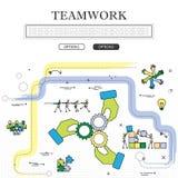 A lápis desenho do conceito do gráfico de vetor da equipe & dos trabalhos de equipa Foto de Stock
