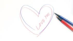 A lápis desenho do coração pela pena da cor Fotografia de Stock Royalty Free