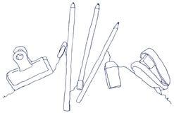 A lápis desenho dos artigos de papelaria Imagem de Stock