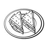 A lápis desenho dos sanduíches no prato - linha simples vetor ilustração do vetor