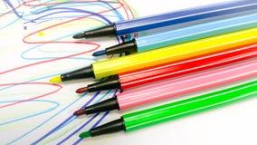 A lápis desenho pela pena da cor Foto de Stock