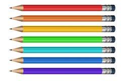 Lápis diferentes da cor com eliminadores Imagens de Stock Royalty Free