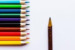 Lápis diferentes no fundo branco Foto de Stock Royalty Free