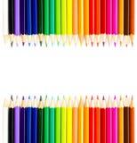 Lápis do arco-íris da cor isolados no fundo branco. De volta ao sch Fotos de Stock Royalty Free