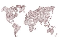 Lápis do mapa do mundo da ilustração do vetor esboçado Fotos de Stock Royalty Free