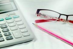 Lápis dos vidros da calculadora Imagem de Stock Royalty Free