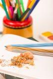 Lápis e apontador Fotos de Stock