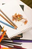 Lápis e apontador Fotografia de Stock