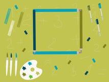 Lápis e artigos de papelaria abstratos da educação Imagem de Stock Royalty Free