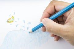Lápis e desenho da cor Fotos de Stock