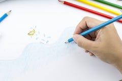 Lápis e desenho da cor Imagens de Stock