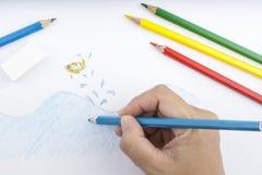 Lápis e desenho da cor Fotografia de Stock