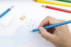 Lápis e desenho da cor Foto de Stock Royalty Free