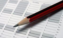Lápis e diário Fotografia de Stock