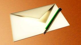 Lápis e envelope Imagens de Stock