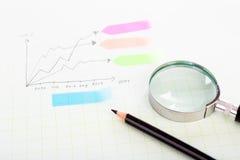 Lápis e papel da escala da grade do gráfico Fotografia de Stock
