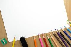 Lápis e papel da vista superior Fotografia de Stock