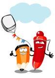 Lápis e pena dos desenhos animados Fotografia de Stock Royalty Free