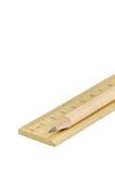 Lápis e régua de madeira Fotografia de Stock Royalty Free