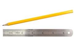 Lápis e régua simples Fotografia de Stock Royalty Free