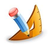 Lápis e triângulo Foto de Stock