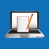 Lápis em linha do bloco de notas do conceito da educação ilustração royalty free