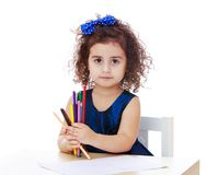 Lápis encaracolado-de cabelo pequenos do desenho da princesa Imagem de Stock Royalty Free
