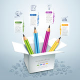 Lápis Infographics da educação do negócio Imagem de Stock