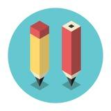Lápis isométricos estilizados Fotografia de Stock Royalty Free