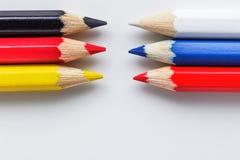 Lápis na cor da bandeira do alemão e do russo Imagem de Stock