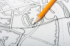 Lápis para tirar o mapa Fotografia de Stock Royalty Free