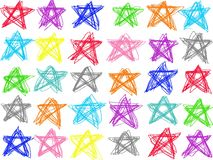 A lápis pastel colorido isolado da estrela da garatuja do desenho no fundo branco Ilustração do pastel da cor ilustração do vetor