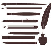 Lápis. Pena. Escova. Pena de feltro. Pena Foto de Stock Royalty Free
