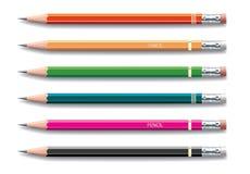 Lápis pintados em cores diferentes ilustração stock