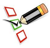 Lápis que verific o checkbox em branco Fotografia de Stock